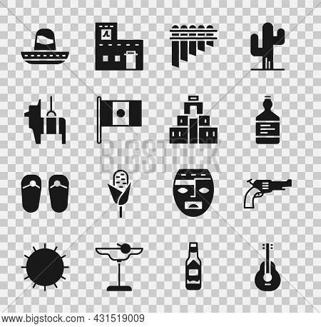 Set Mexican Guitar, Revolver Gun, Tequila Bottle, Pan Flute, Mexico Flag, Pinata, Sombrero And Chich