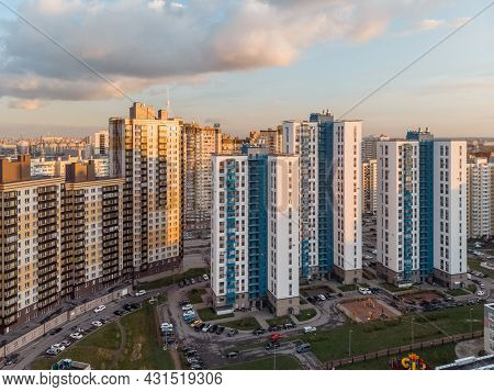 District Of Newly Built Colorful Houses Capable Of Accommodating Thousands Of Residents. Сlose Locat