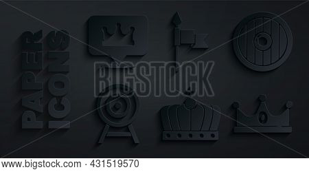 Set King Crown, Round Wooden Shield, Target With Arrow, Medieval Spear And Location King Icon. Vecto