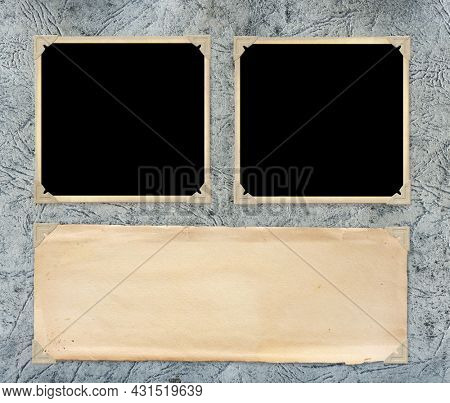 Two retro photos on cardboard photo album page. Vintage blank photo frames and empty paper sheet in photo book. Mockup template. Copy space for your text