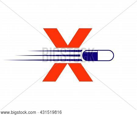 Medicine Logo With X Letter. X  Medicine Pill Or Tablet Logo Concept. Capsule Pharmacy Medical Logo