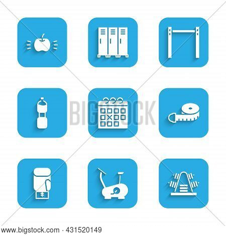 Set Calendar Fitness, Stationary Bicycle, Metal Rack With Weights, Tape Measure, Boxing Glove, Bottl