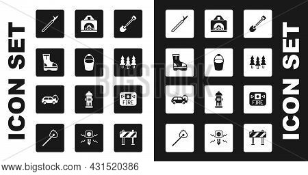 Set Fire Shovel, Bucket, Boots, Metal Pike Pole, Forest, Interior Fireplace, Alarm System And Burnin