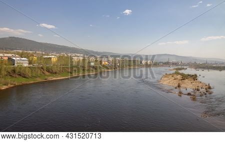 Landscape With The Lena River In The City Of Ust-kut On Summer June Day. The Flow Of The Lena River