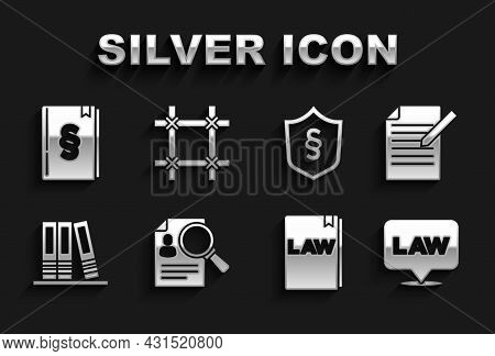 Set Paper Analysis Magnifying, Document And Pen, Location Law, Law Book, Office Folders, Justice Shi