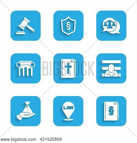 Set Holy Bible Book, Location Law, Law, Prisoner, Bribe Money Bag, Pillar, Scales Of Justice And Jud
