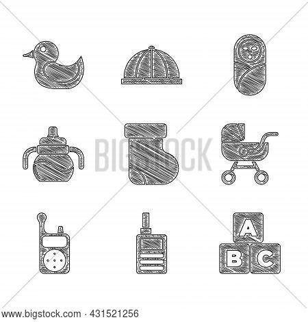 Set Baby Socks Clothes, Monitor Walkie Talkie, Abc Blocks, Stroller, Bottle, Newborn Baby Infant Swa