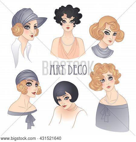 Flapper Girl Set.rretro Women Of Twenties. Vector Illustration. Art Deco Vintage Invitation. Retro P