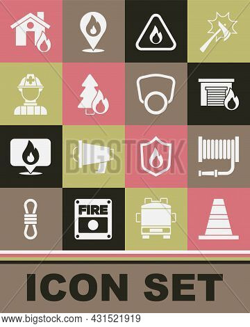 Set Traffic Cone, Fire Hose Reel, In Burning Garage, Flame Triangle, Burning Forest Tree, Firefighte