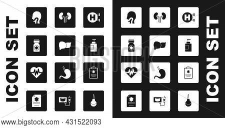 Set Hospital Signboard, Human Organ Liver, Medicine Bottle And Pills, Sore Throat, Hand Sanitizer, K