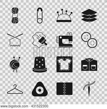 Set Needle With Thread, Shirt, Sewing Button, Bed And Needles, Leather, Knitting, Yarn And Machine I