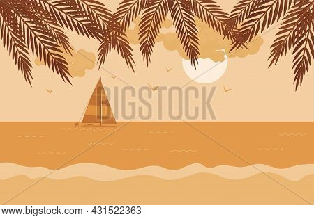 Palm Tree Silhouette, Sailboat, Sunset Sea Shore Beach Stunning Scenery. Sundown, Beautiful Coastal