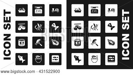 Set Sushi On Cutting Board, Seaweed, Fishing Boat, Tail, Cutting And Knife, Mussel And Canned Fish I