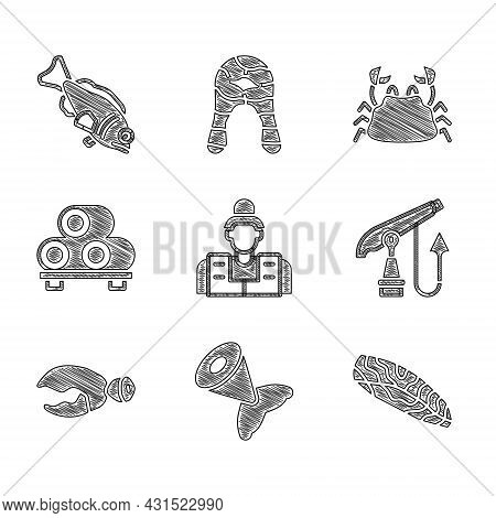 Set Fisherman, Tail, Steak, Fishing Harpoon, Lobster Or Crab Claw, Sushi Cutting Board, Crab And Ico