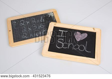 School Slate Blackboard With Mathematical Multiplication And Text Heart I Love Chalk On Grey Backgro