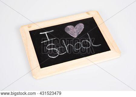 Old School Slate Blackboard With Text Heart I Love On Grey Background