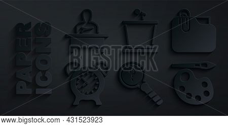 Set Unknown Search, Document Folder With Clip, Alarm Clock, Paint Brush Palette, Stage Stand And Sch