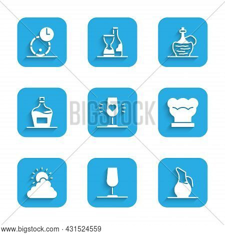 Set Wine Glass, Decanter For Wine, Chef Hat, Sun And Cloud Weather, Old Bottle Of, Italian Fiasco An