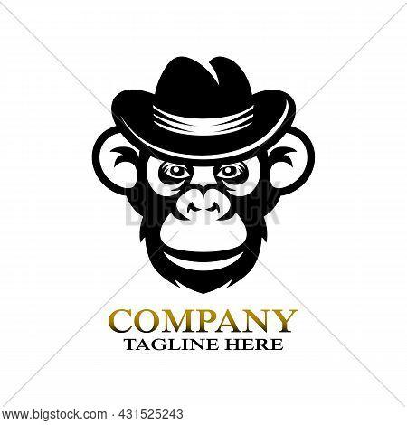 Modern Monkey Gangster Chimpanzee Logo. Vector Illustration