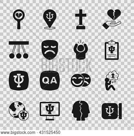 Set Psychology, Psi, Man Graves Funeral Sorrow, Graves, Drama Theatrical Mask, Pendulum, Broken Hear