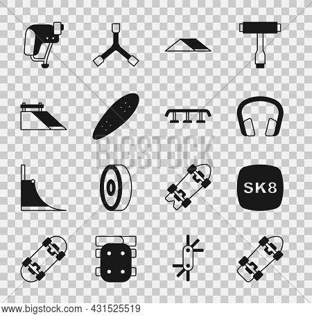 Set Skateboard, Headphones, Park, Longboard Or Skateboard, Helmet And Stairs With Rail Icon. Vector