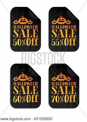 Halloween Black Sale Stickers Set With Pumpkin. Halloween Sale 50%, 55%, 60%, 70% Off. Vector Illust