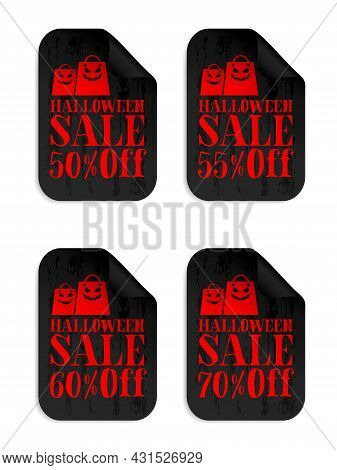 Halloween Black Sale Stickers Set With Scary Shopping Bags. Halloween Sale 50%, 55%, 60%, 70% Off. V