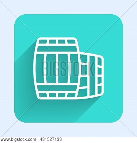 White Line Wooden Barrel Icon Isolated With Long Shadow Background. Alcohol Barrel, Drink Container,