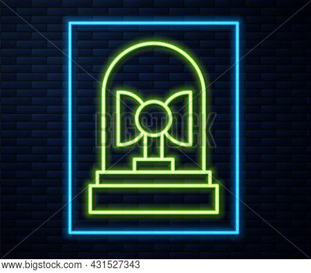 Glowing Neon Line Flasher Siren Icon Isolated On Brick Wall Background. Emergency Flashing Siren. Ve