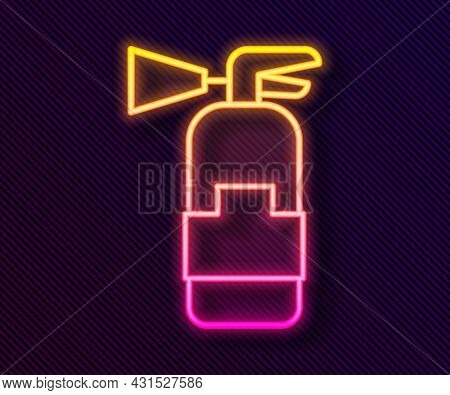 Glowing Neon Line Fire Extinguisher Icon Isolated On Black Background. Vector