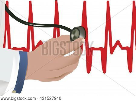 Hand With Histogram Stethoscope Hand With Histogram Stethoscope Stethoscope