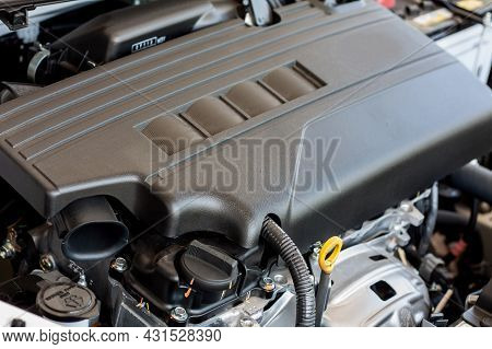 New Car Engine Detail Close Up Background