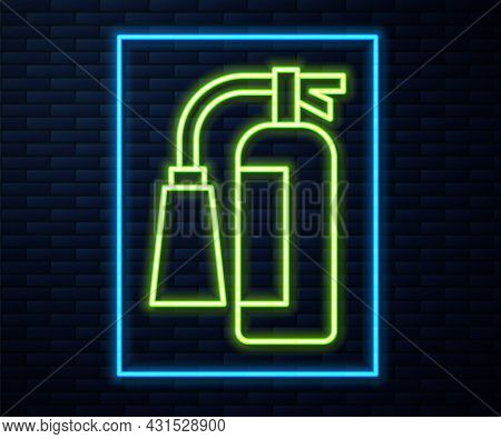 Glowing Neon Line Fire Extinguisher Icon Isolated On Brick Wall Background. Vector