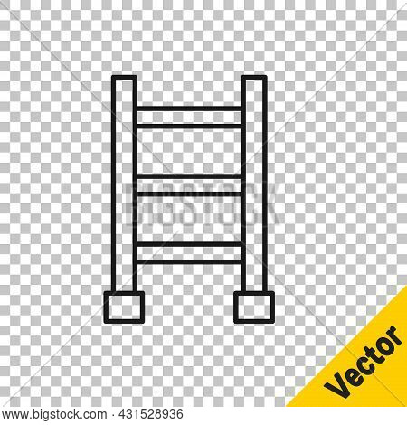 Black Line Fire Escape Icon Isolated On Transparent Background. Pompier Ladder. Fireman Scaling Ladd