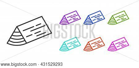 Black Line Wooden Beam Icon Isolated On White Background. Lumber Beam Plank. Set Icons Colorful. Vec