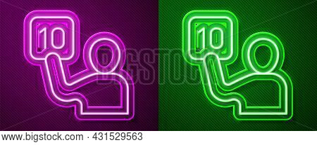 Glowing Neon Line Assessment Of Judges Icon Isolated On Purple And Green Background. Vector