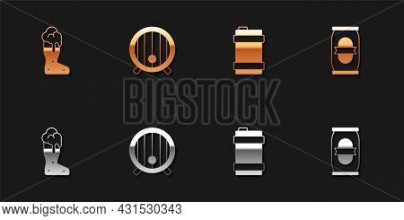 Set Boot Beer Glass, Wooden Barrel, Metal Keg And Beer Can Icon. Vector