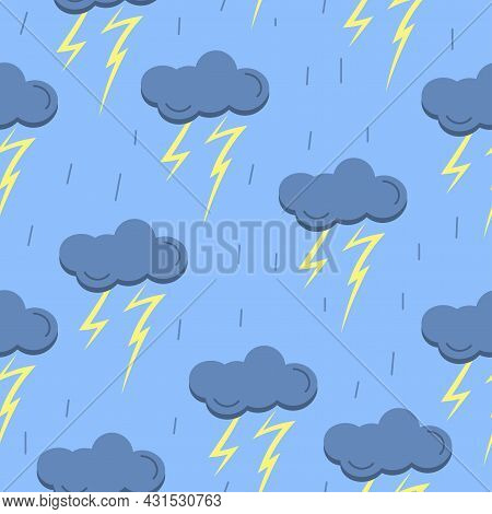 Seamless Pattern With Cloud, Rain, Thunder On Blue Background. Vector Illustration
