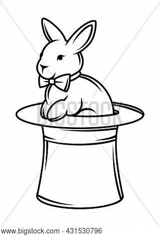 Magician Cylinder In Which Rabbit Sitst. Trick Or Magic Illustration.