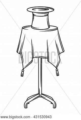 Magician Table With Cylinder. Trick Or Magic Illustration.