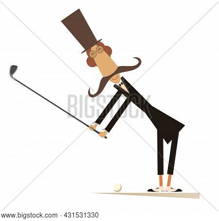 Long Mustache Man In The Top Hat Playing Golf Illustration.  Cartoon Long Mustache Gentleman In The