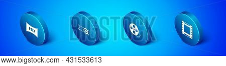 Set Isometric Hd Movie, Tape, Frame, Film Reel, Play Video And Movie, Film, Media Projector Icon. Ve