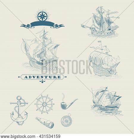 Vintage Hand-drawn Sailboats, Sunken Ships, Map, Wind Rose, Anchor, Steering Wheel, Compass. Attribu