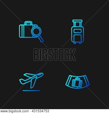 Set Line Conveyor Belt With Suitcase, Plane Takeoff, Lost Baggage And Suitcase. Gradient Color Icons