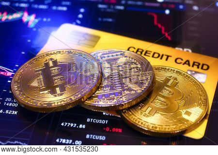 Golden Coin Bitcoin Cryptocurrency With A Credit Card, Payment Operations