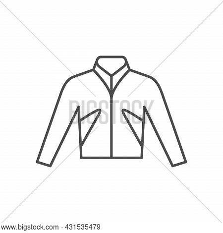 Biker Jacket Line Outline Icon Isolated On White
