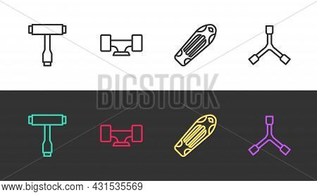 Set Line Skateboard T Tool, Wheel, Deck And Y-tool On Black And White. Vector