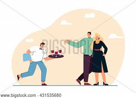 Cartoon Waiter Offering Wine To Couple In Formal Clothes. Staff Serving Man And Woman On Social Even