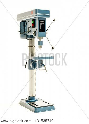 3d rendering of professional column drill press model on white background