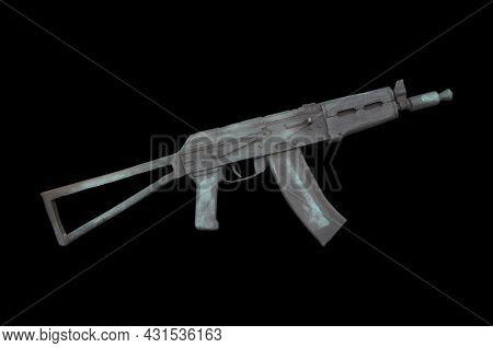 Akmu. Kalashnikov Assault Rifle Shortened Version. Barillef Isolated On Black Background.